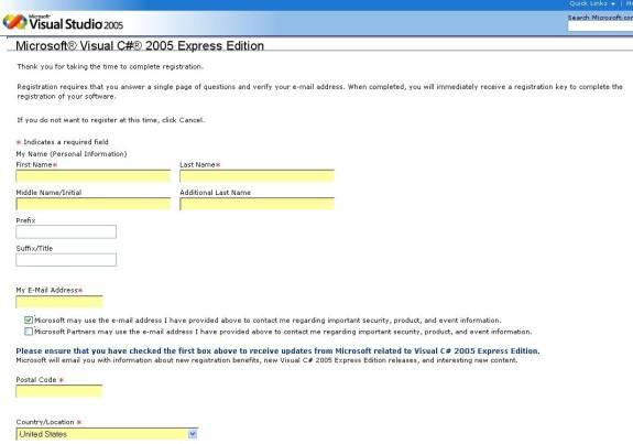 visual c 2005 registration key