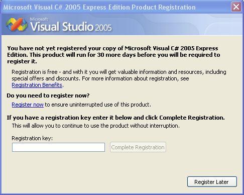 visual studio 2005 express registration key